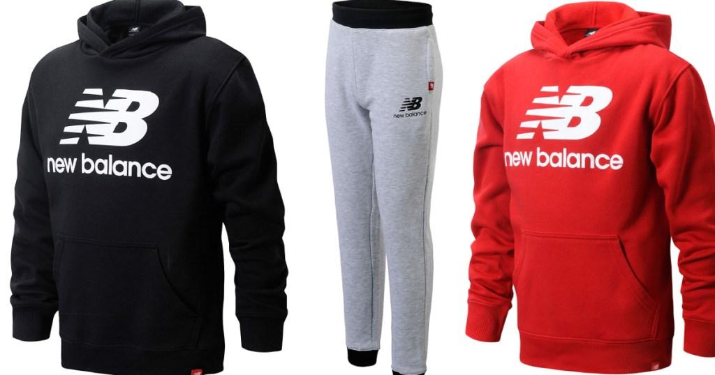 three stock images of kids sweatshirts and pants