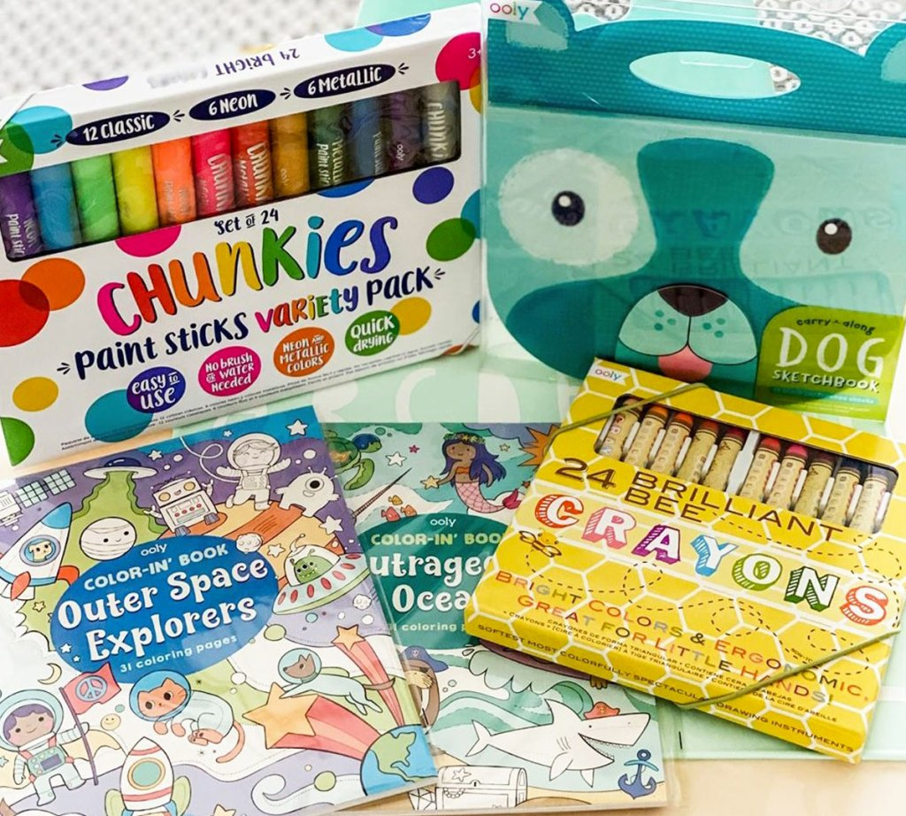 art supplies and activity books