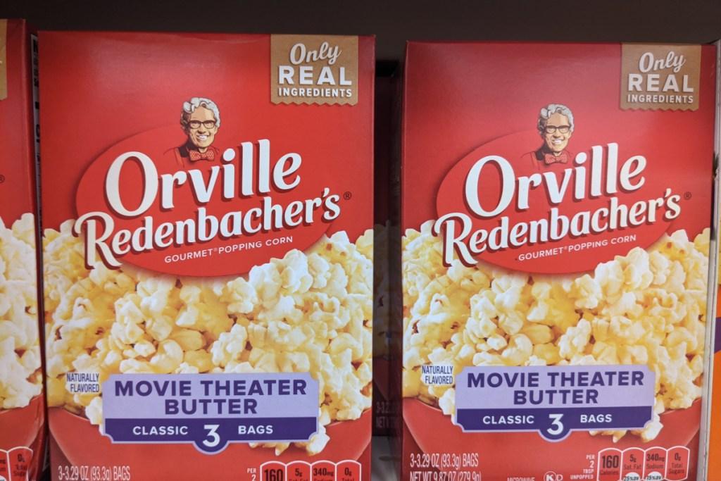 boxes of popcorn on store shelf