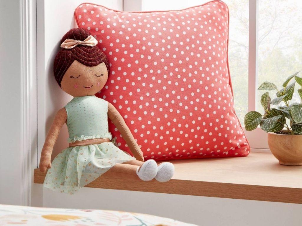 pink polkadot throw pillow