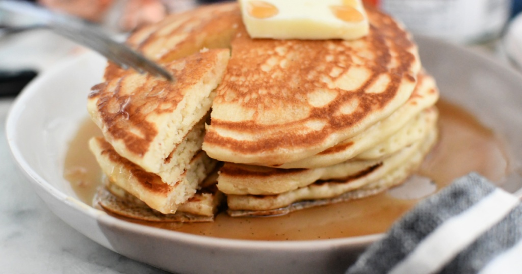 plate of fluffy pancakes
