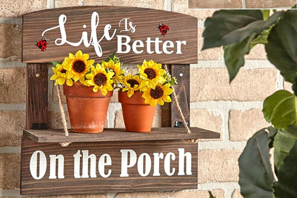 porch sign w/ flowers