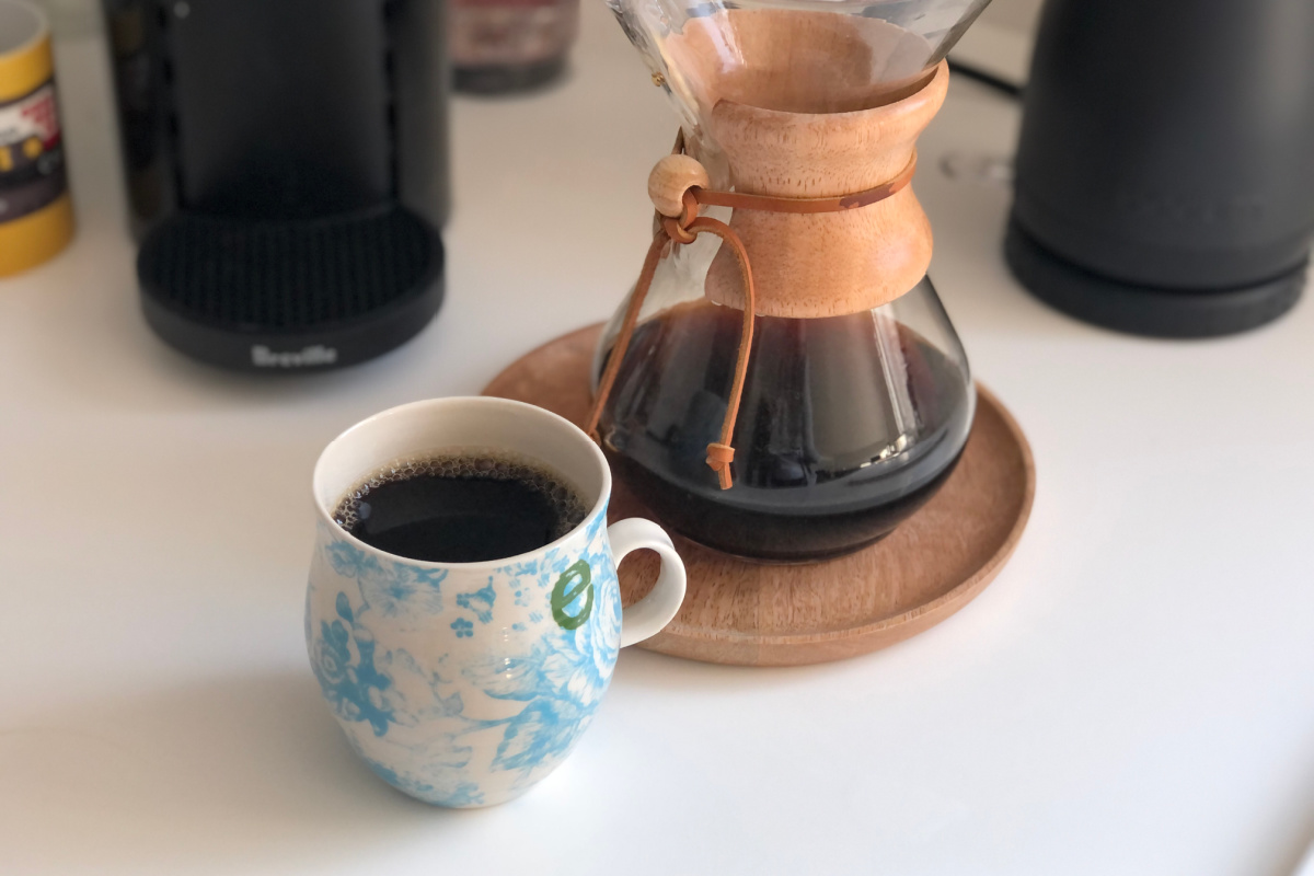 chemex pour over coffee maker and cup on counter