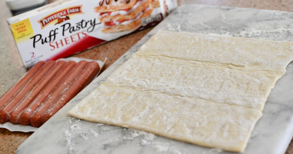 puff pastry sheet and hot dogs