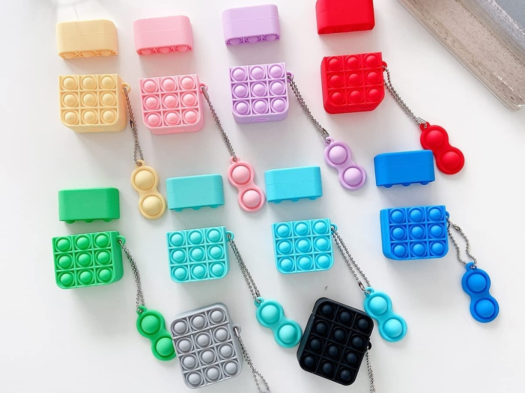 sensory AirPods cases in multiple colors