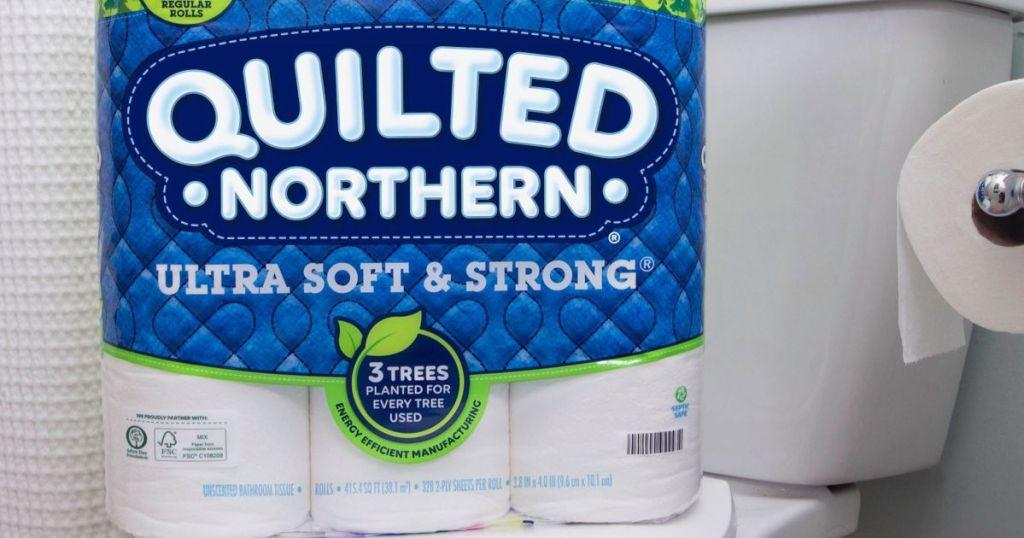 package of toilet paper in bathroom