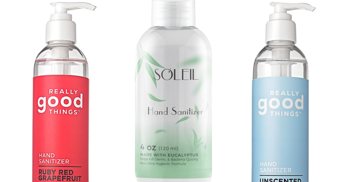 three stock images of bottles of hand sanitizer