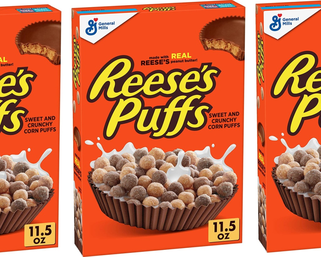 reeses puffs cereal in box