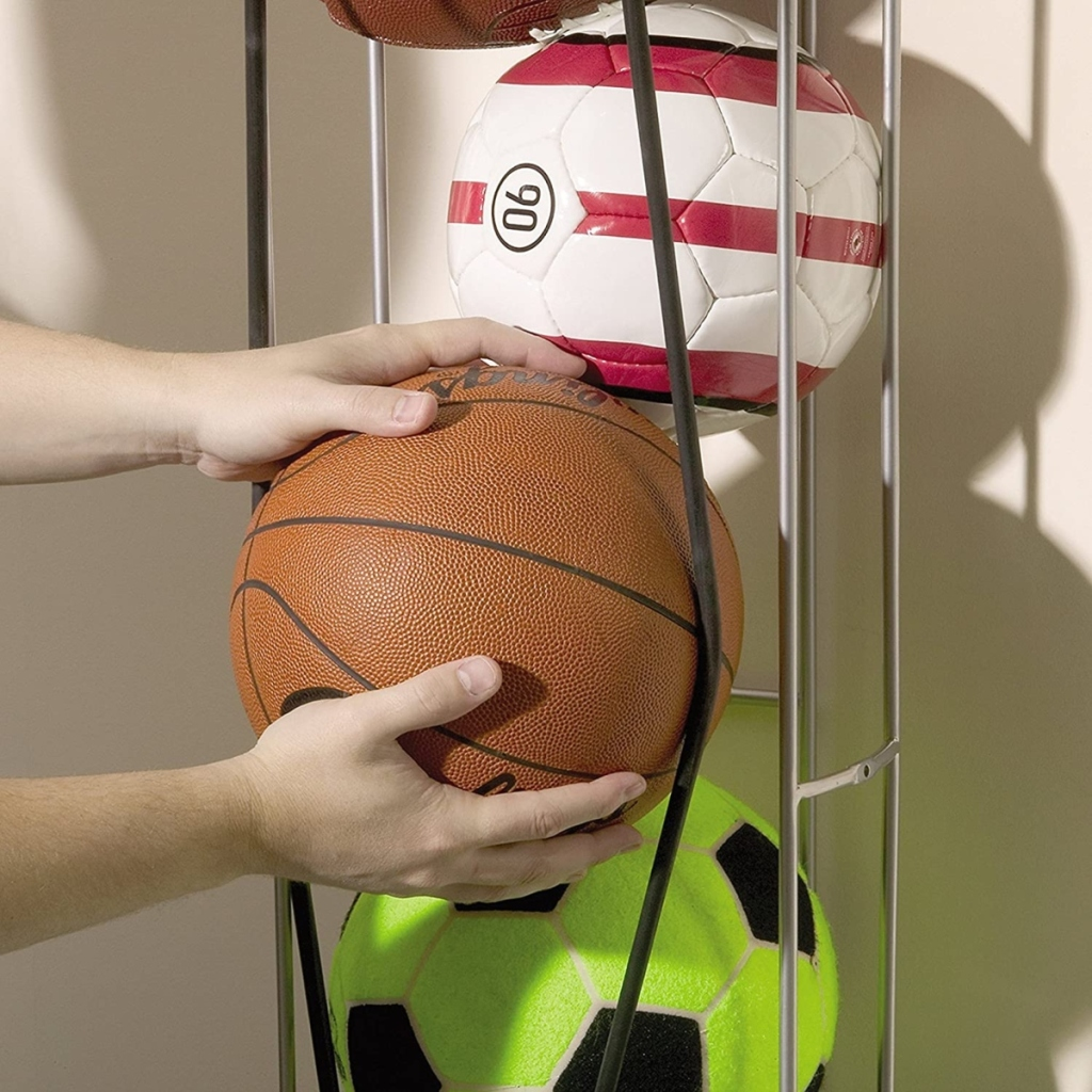 pulling basketball out of ball rack