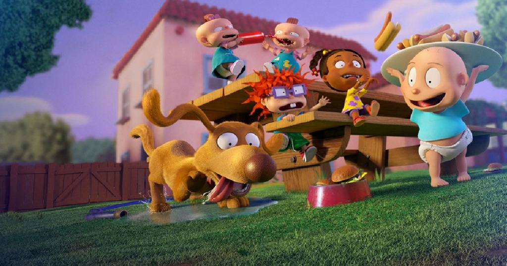 cartoon children and dog playing on picnic table