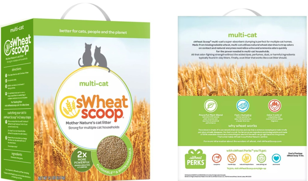 front and back view of a box of natural cat litter