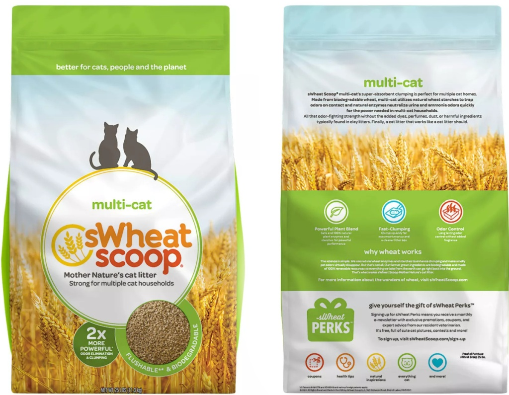 front and back view of a bag of natural cat litter