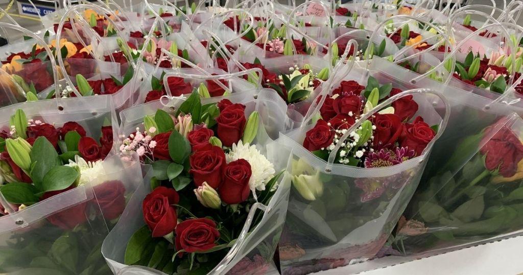 bags with rose vase arrangement