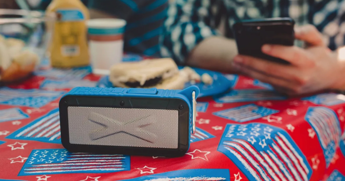 solar powered bluetooth speaker at picnic