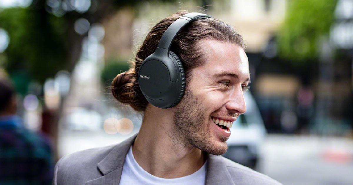 sony headphones on man