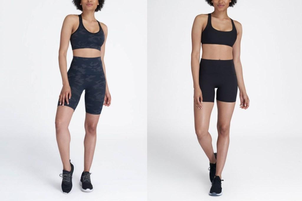 two spanx biker shorts