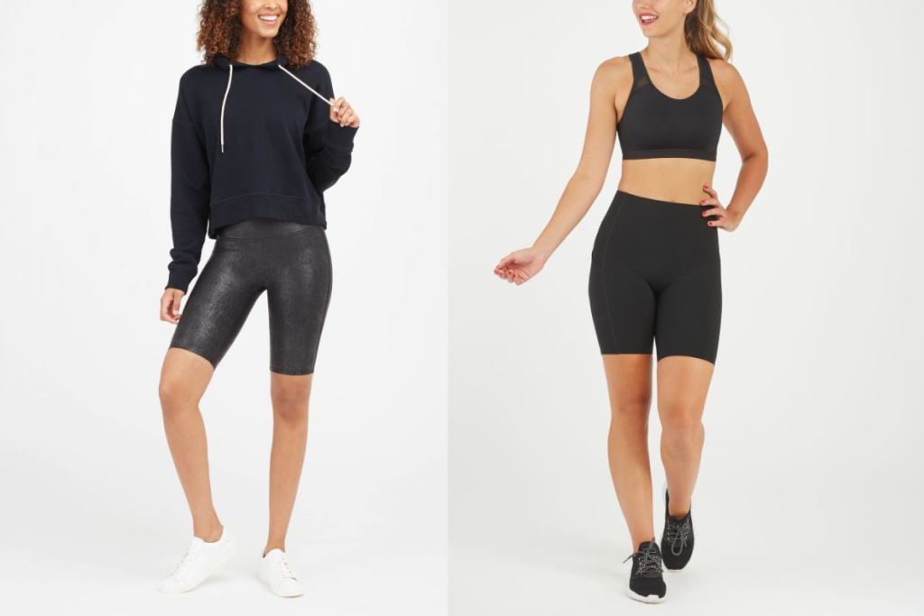 two spanx leather shorts