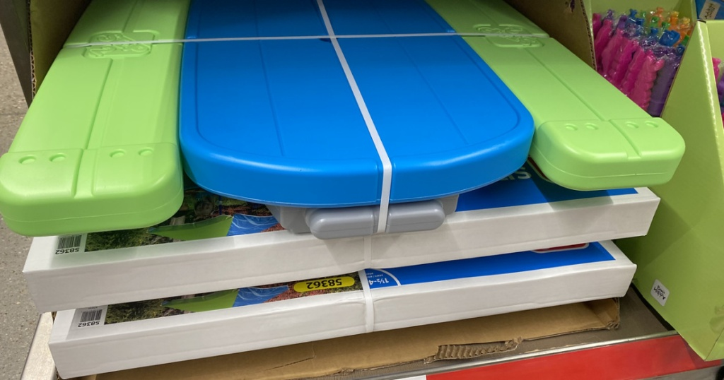 blue and green kids picnic table on display in store