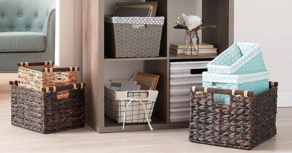 various storage baskets on shelf and floor