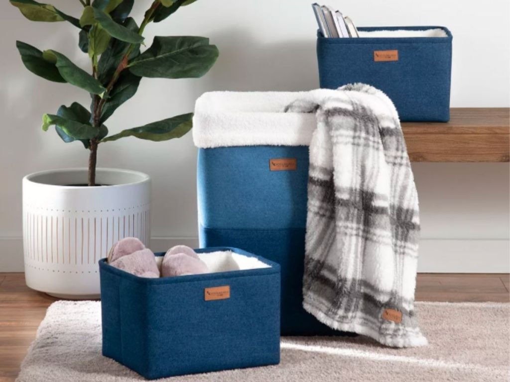 navy blue storage baskets with fur lining