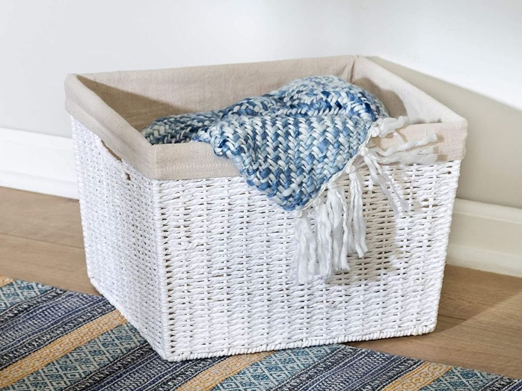 white wicker basket with lining