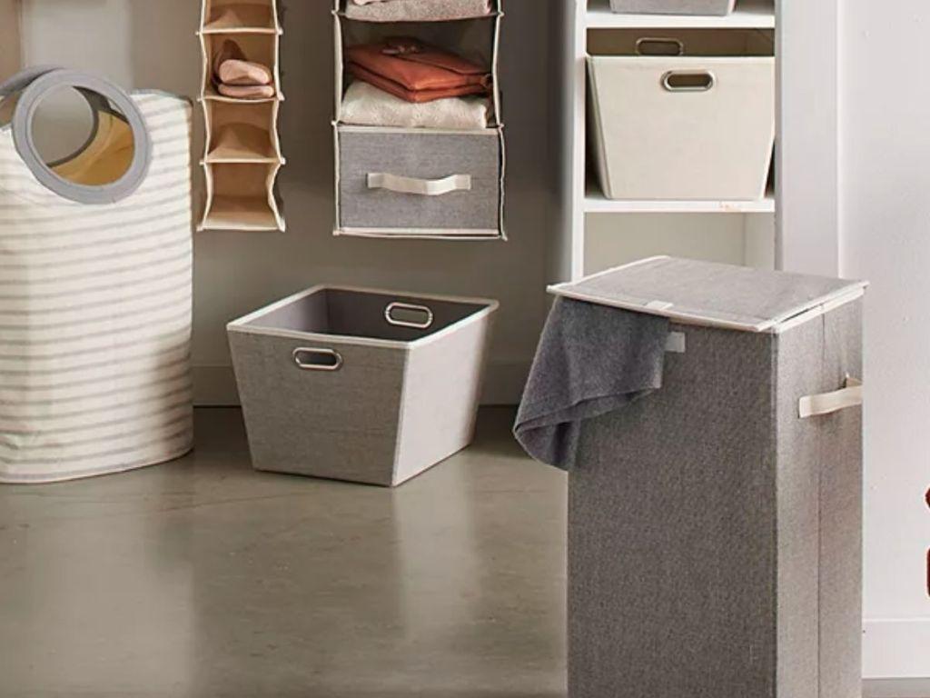 gray storage bin with handles