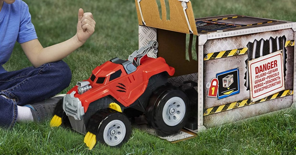 toy monster truck coming out of its packaging