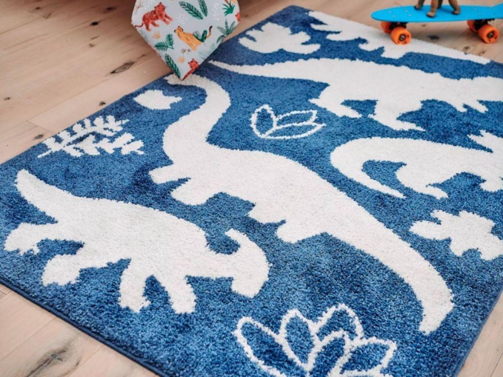 blue and white dino rug