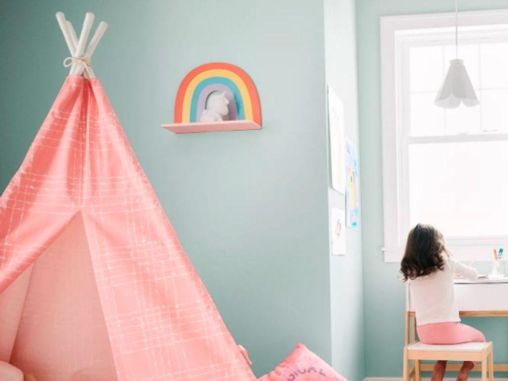 rainbow shelf on kids wall