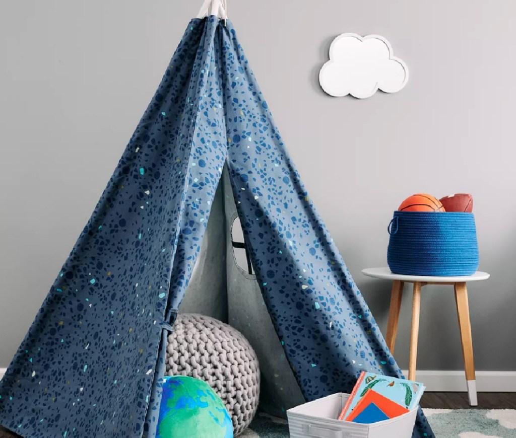 blue kids tent in kids bedroom