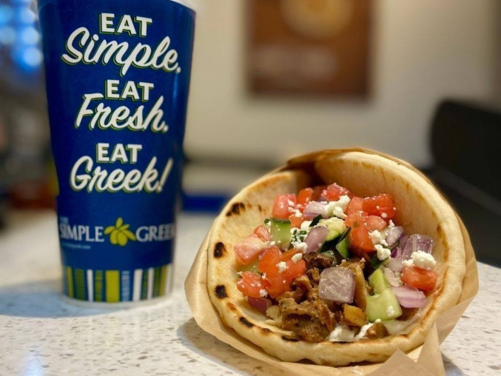 pita and fountain soda from The Simple Greek