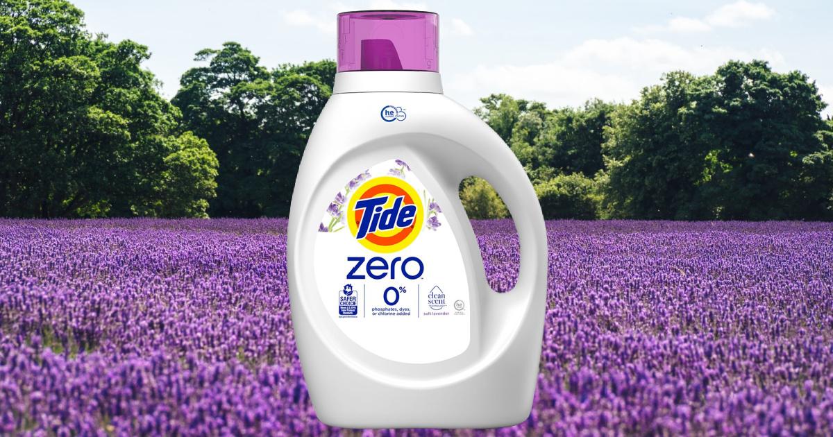 tide zero soft liquid laundry detergent lavender scent