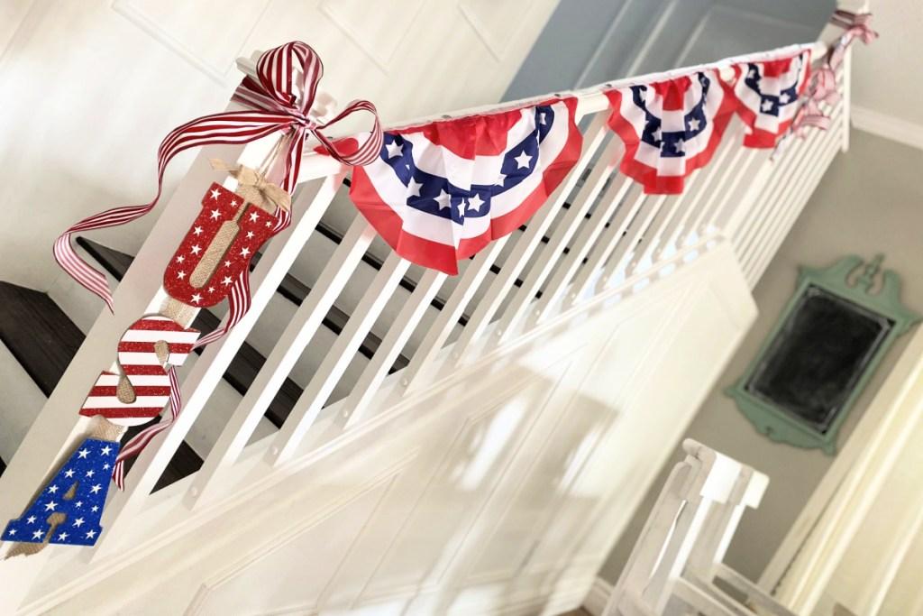 dollar tree American flag sign on banister