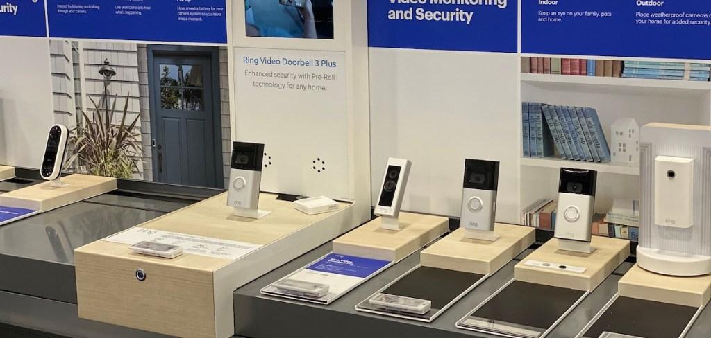 row of video doorbells in best buy