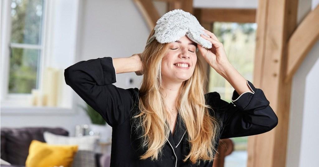 woman wearing warmies mask