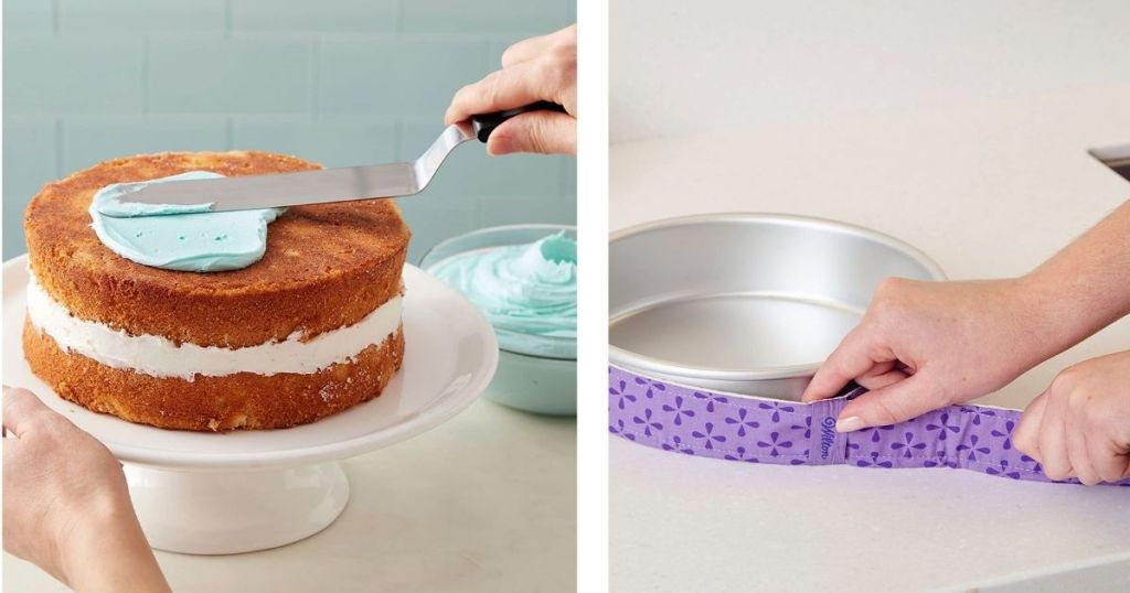 hand spreading frosting on cake and putting cake strips around cake pan