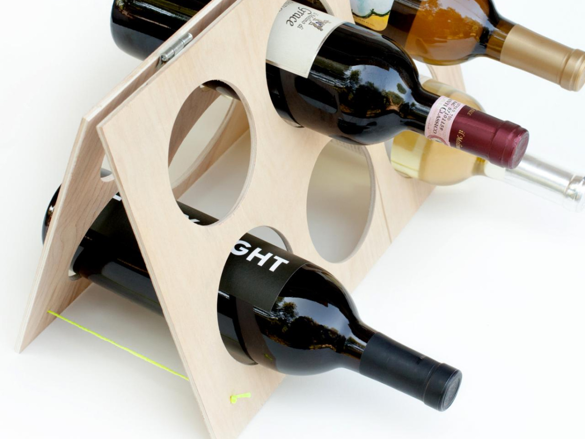 A-frame wooden wine rack