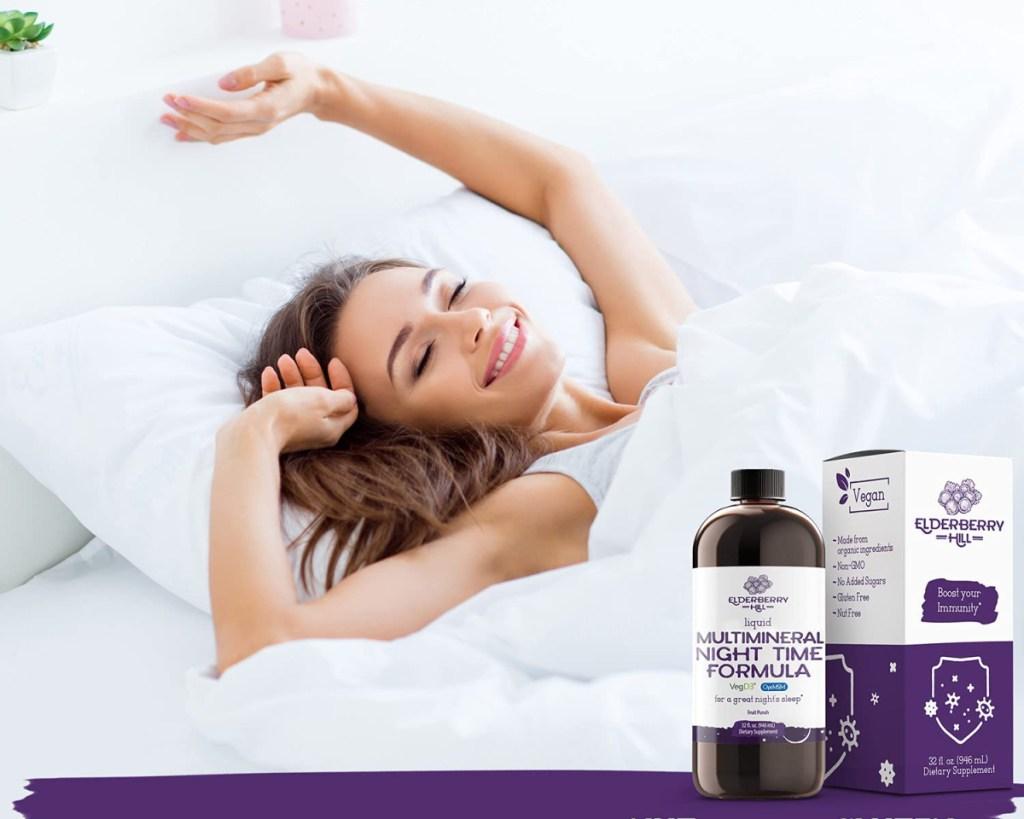 woman sleeping use multivitamin