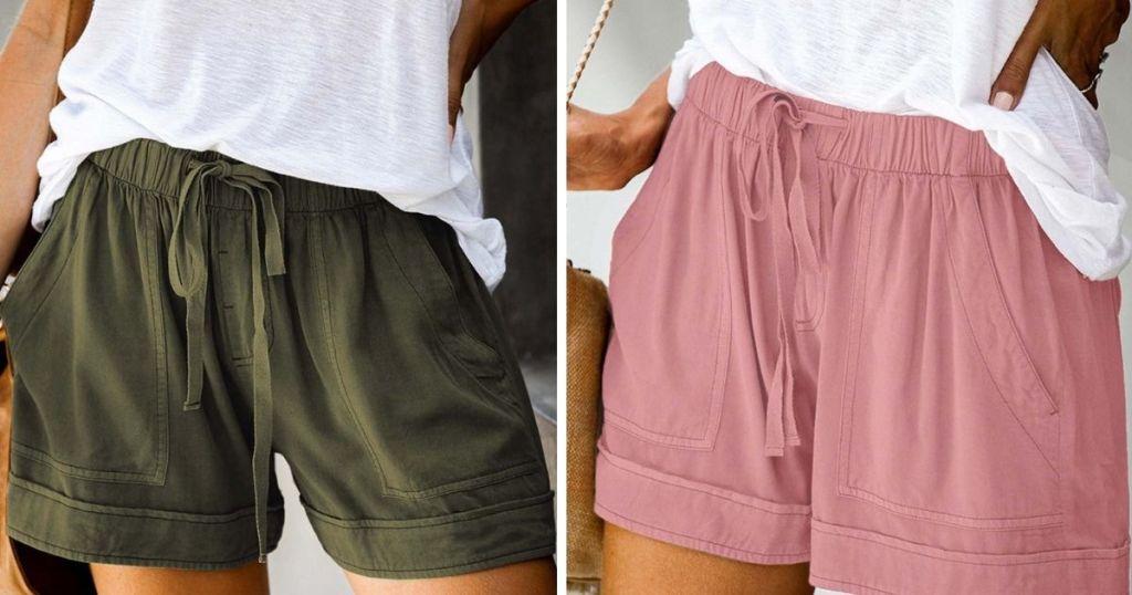women wearing dark green and blush drawstring shorts
