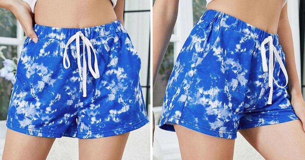 front and side view of woman wearing white and dark blue women's drawstring shorts