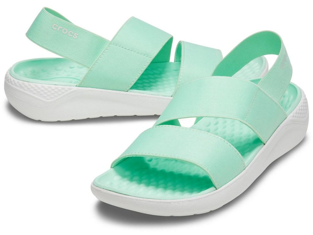 pair of ladies sandals in mint color