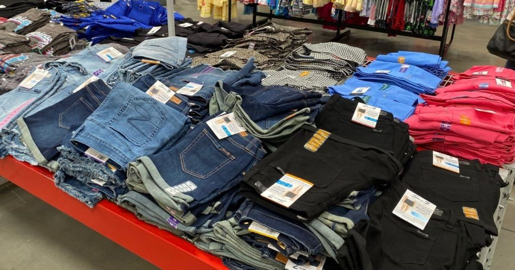 table of women's denim shorts in store