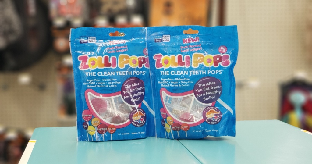 twp packages of zolli pops lollipops on a table