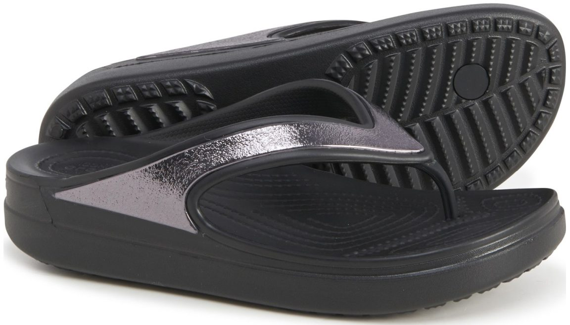 Women's Crocs Sloane Shine Wedge Flip-Flops