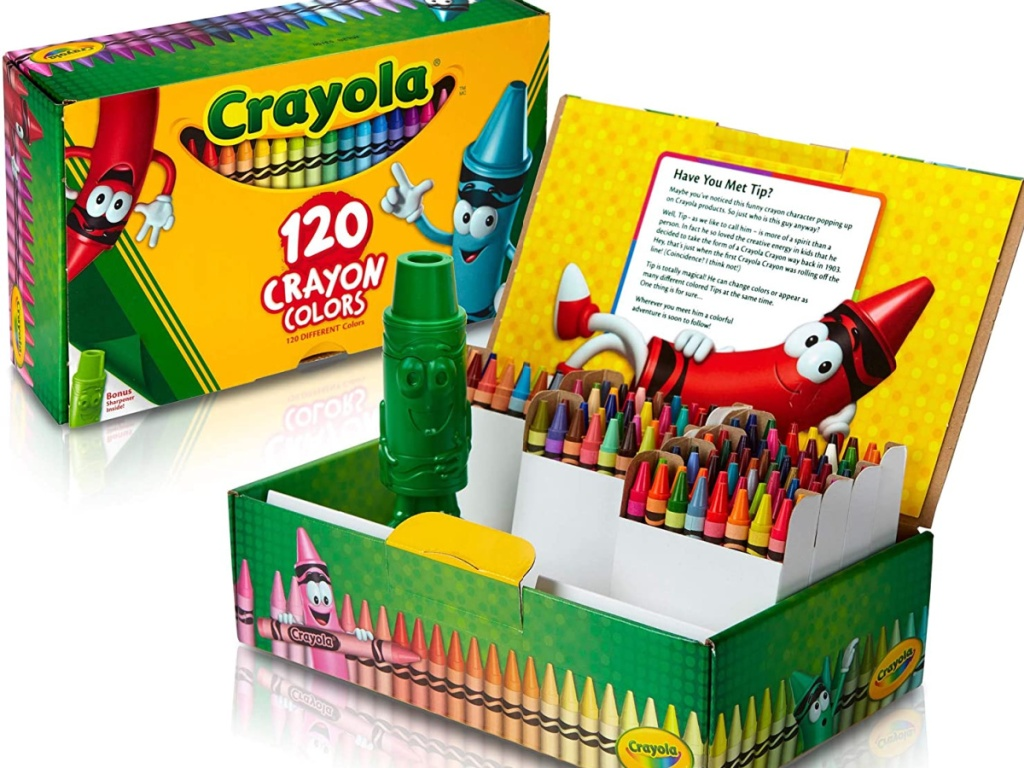120 crayon box open with sharpener