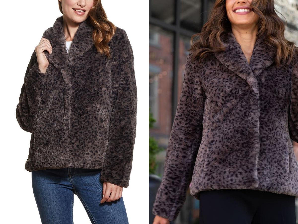 Weatherproof Gray & Black Leopard Faux Fur Jacket