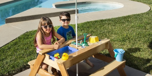 Kids 3-in-1 Sand & Water Picnic Table w/ Umbrella Only $129.99 Shipped