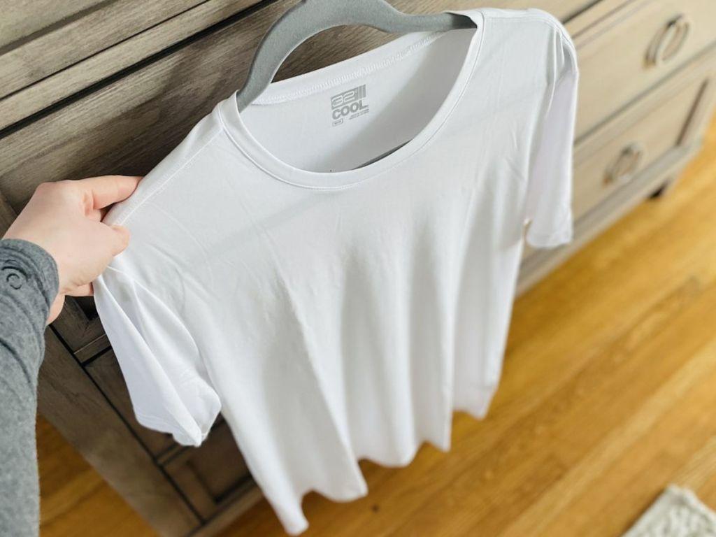 men's t-shirt hanging on hanger