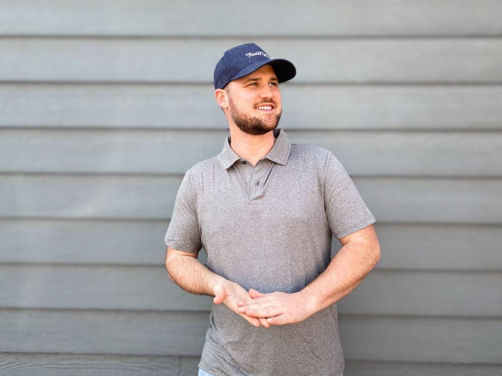 man wearing a polo shirt
