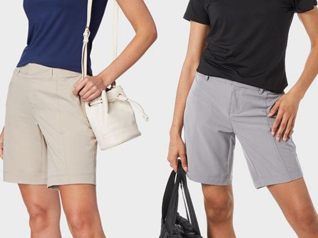 32 degrees women's bermuda shorts on two women